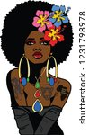 beautiful black woman with...   Shutterstock . vector #1231798978