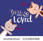 Cute Cats Character With Heart...