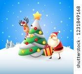 santa claus put gifts under...   Shutterstock .eps vector #1231849168