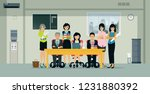 male and female employees are... | Shutterstock .eps vector #1231880392