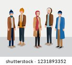 group of men with winter clothes | Shutterstock .eps vector #1231893352