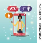 black woman in smartphone with... | Shutterstock .eps vector #1231898242