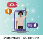 black man in smartphone with... | Shutterstock .eps vector #1231898245