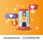 woman in smartphone with social ... | Shutterstock .eps vector #1231898248