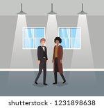 businessmen couple in corridor...   Shutterstock .eps vector #1231898638