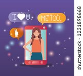 woman in smartphone with social ... | Shutterstock .eps vector #1231898668