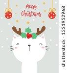 christmas card. cute cat. | Shutterstock .eps vector #1231952968