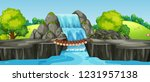 waterfall in nature landscape... | Shutterstock .eps vector #1231957138