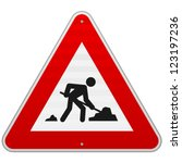 construction road sign   men at ... | Shutterstock .eps vector #123197236