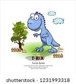 cute tyrannosaurus rex cartoon... | Shutterstock .eps vector #1231993318