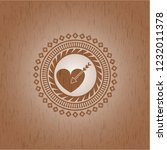 love icon inside realistic wood ... | Shutterstock .eps vector #1232011378