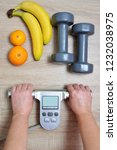 measuring body mass index with... | Shutterstock . vector #1232038975