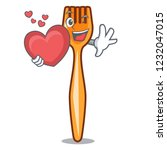 with heart plastic fork on use... | Shutterstock .eps vector #1232047015