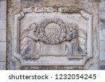 old plaque depicting angels... | Shutterstock . vector #1232054245