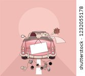 wedding bride car  wedding car  ... | Shutterstock .eps vector #1232055178