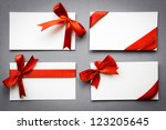 set of cards with red ribbons... | Shutterstock . vector #123205645