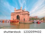 the gateway of india and boats... | Shutterstock . vector #1232059432