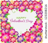 Floral Valentine background with heart shape and text for design, vector - stock vector