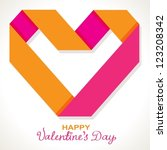 Background with color origami paper heart for Valentine design, vector - stock vector