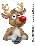 a reindeer christmas red nosed... | Shutterstock . vector #1232126872
