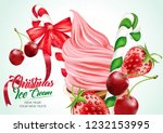 christmas ice cream cone with... | Shutterstock .eps vector #1232153995