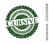 green cursive distressed rubber ... | Shutterstock .eps vector #1232165608