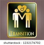 gold badge with gay men love... | Shutterstock .eps vector #1232176702