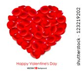 heart of red rose petals.... | Shutterstock .eps vector #123219202