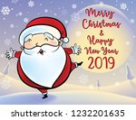 santa claus is happy at... | Shutterstock .eps vector #1232201635