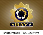 gold badge or emblem with... | Shutterstock .eps vector #1232234995