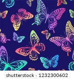 pattern with rainbow... | Shutterstock .eps vector #1232300602