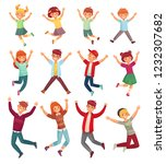 jumping kids. excited childrens ... | Shutterstock .eps vector #1232307682