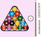 billiard balls in triangle and ... | Shutterstock .eps vector #1232317675