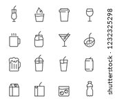Stock vector drinks icon set cocktail shot coffee juice beer soda and others linear icons line with 1232325298