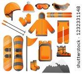 snowboarding equipment icon set.... | Shutterstock .eps vector #1232331148