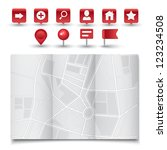 vector modern map icon with red ... | Shutterstock .eps vector #123234508