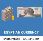 egyptian currency one hundred... | Shutterstock .eps vector #1232347285
