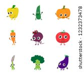 veggie icons set. cartoon set... | Shutterstock . vector #1232373478