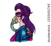 woman in respirator mask....   Shutterstock .eps vector #1232431765