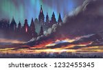 sunset scenery of the dark...   Shutterstock . vector #1232455345