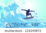 on the image the surfer on waves is presented - stock vector