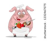 pig cook cook skewers vegetables | Shutterstock .eps vector #1232467075