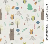forest animals. seamless... | Shutterstock .eps vector #1232484175