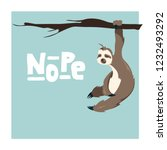 cute greeting card with sloth...   Shutterstock .eps vector #1232493292