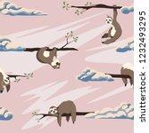 cute sloths vector seamless...   Shutterstock .eps vector #1232493295