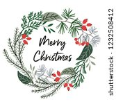 merry christmas wreath with... | Shutterstock .eps vector #1232508412