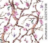 vintage watercolor spring... | Shutterstock . vector #1232574148