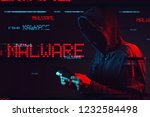 malware concept with faceless... | Shutterstock . vector #1232584498