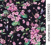 watercolor spring vintage... | Shutterstock . vector #1232595322