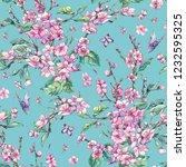 watercolor spring vintage... | Shutterstock . vector #1232595325